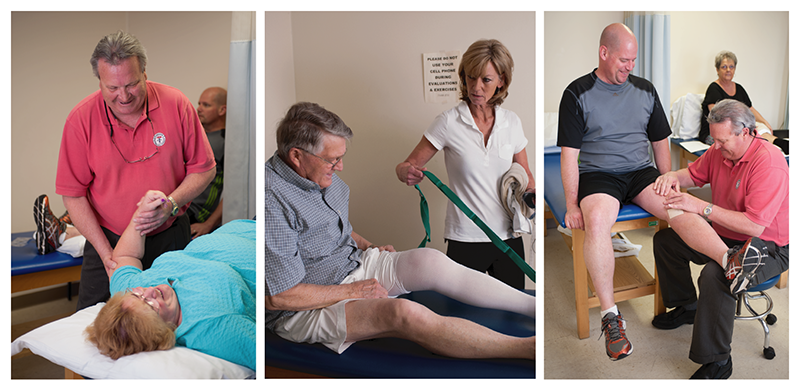 collage of therapists providing therapy to patients