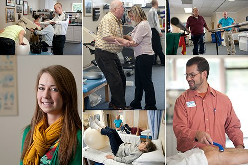collage of patients being helped by therapists