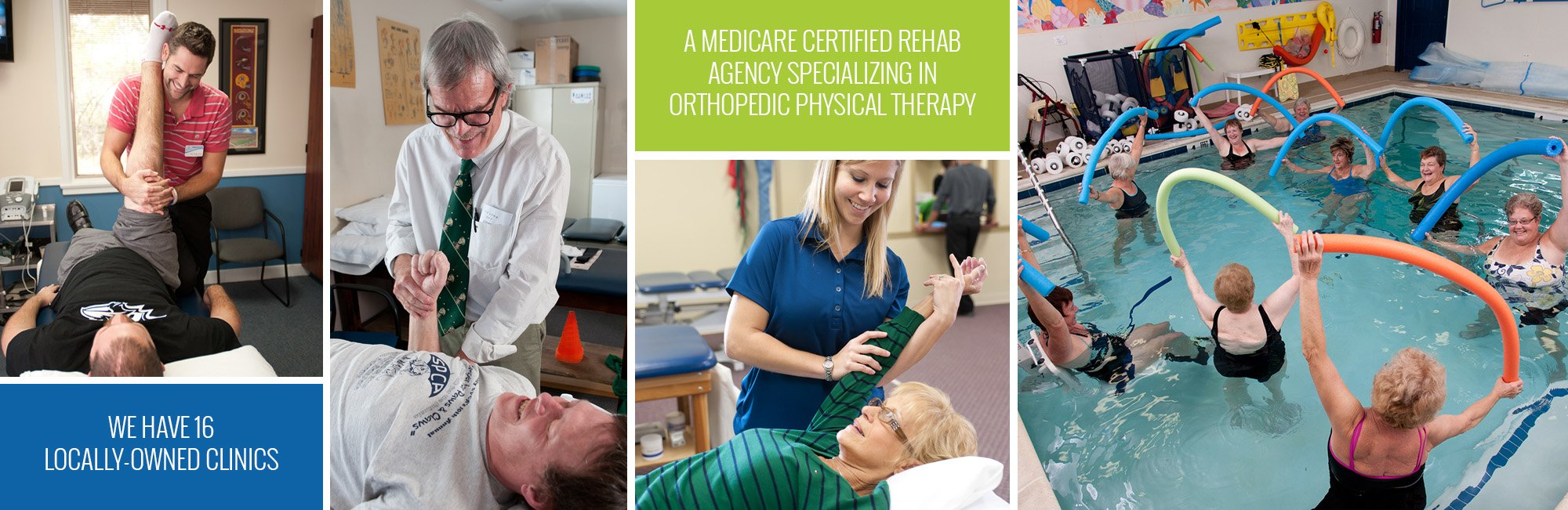collage of therapists helping patients