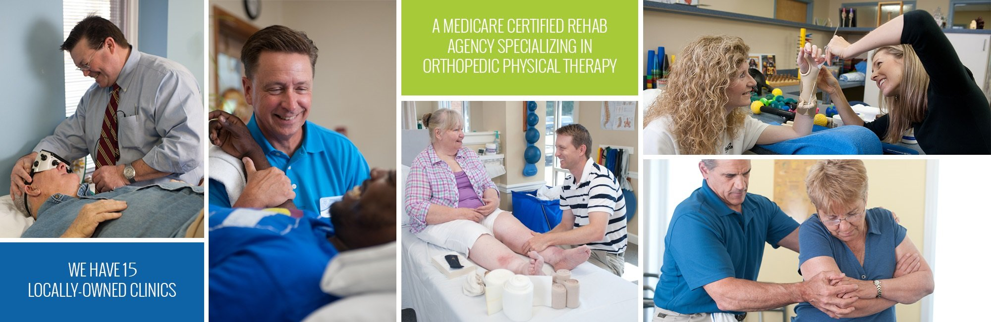 Multi paneled image showing physical therapist assisting patients